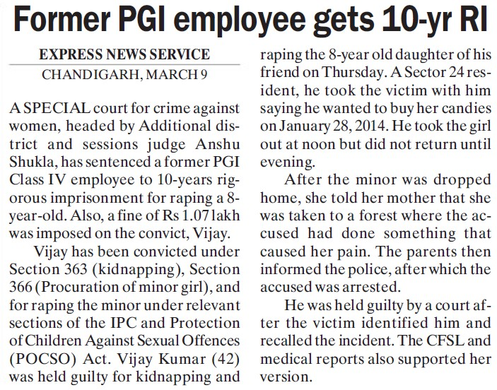 Former PGI employee gets 10 yr RI (Post-Graduate Institute of Medical Education and Research (PGIMER))