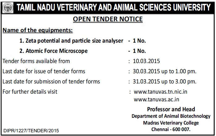 Supply of Atomic Force Microscope (Tamil Nadu Veterinary And Animal Sciences University TANUVAS)