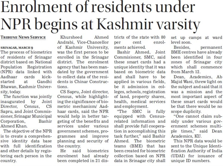 Enrolment of residents under NPR begins at KU (University of Kashmir Hazbartbal)