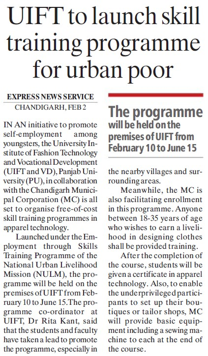 UIFT to launch skill training Programme for urban poor (University Institute of Fashion Technology & Vocational Development (UIFT VD))
