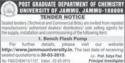 Supply of Bench Flash Pump (Jammu University)
