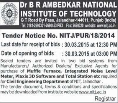 Purchase of Muffle Furnace (Dr BR Ambedkar National Institute of Technology (NIT))