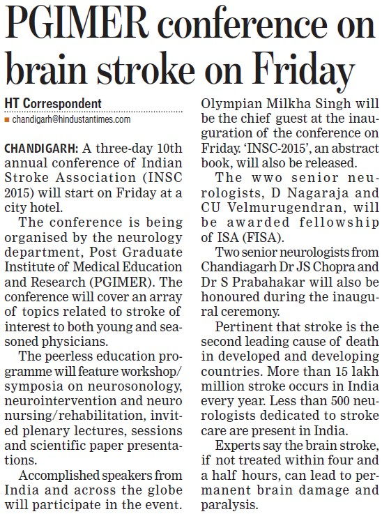 Conference on brain stroke on Friday (Post-Graduate Institute of Medical Education and Research (PGIMER))