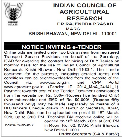 Supply of DLY taxies (Indian Council of Agricultural Research (ICAR))