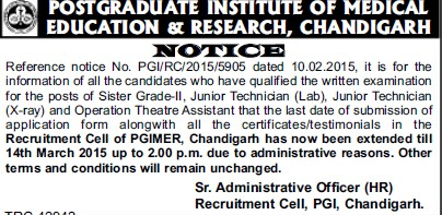 Junior Technicial (Post-Graduate Institute of Medical Education and Research (PGIMER))