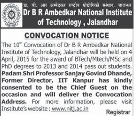 Convocation Program 2015 (Dr BR Ambedkar National Institute of Technology (NIT))