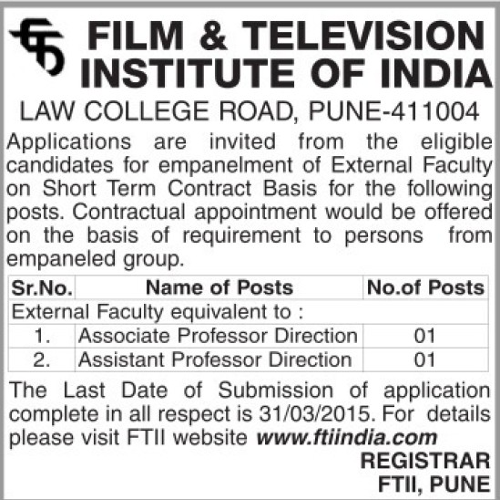 Asstt Professor Director (Film and Television Institute of India)