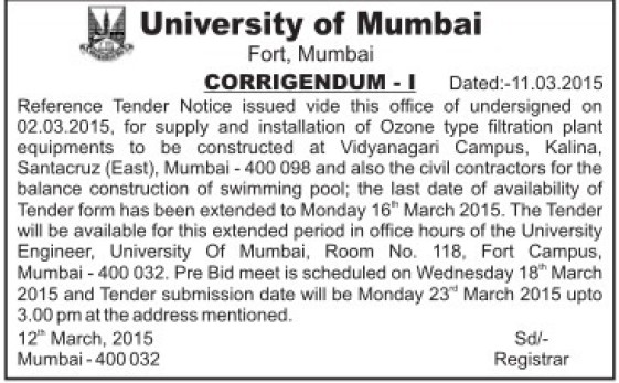 Supply of Ozone type filtrartion (University of Mumbai (UoM))