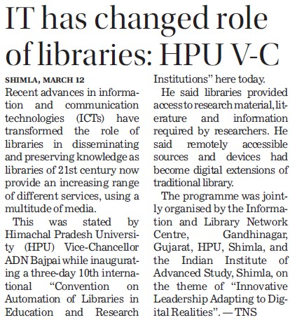IT has changed role of libraries, HPU VC (Himachal Pradesh University)