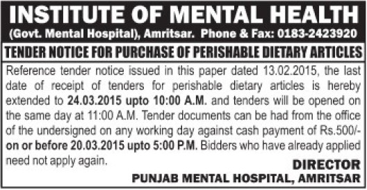 Purchase of Perishable dietary articles (Institute of Mental Health and Hospital (IMHT))