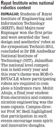 Rayat Institute wins national robotics contest (Rayat Institute of Engineering and Information Technology)