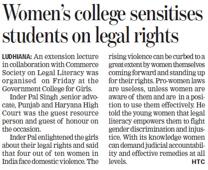 Women college sensitises students on legal rights (Government College for Women)