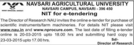 Purchase of Scientific instruments (Navsari Agricultural University (NAU))