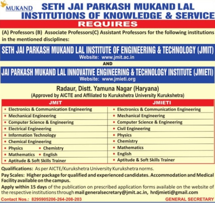 Associate Professor (Seth Jai Parkash Mukand Lal Institute of Engineering and Technology (JMIT))
