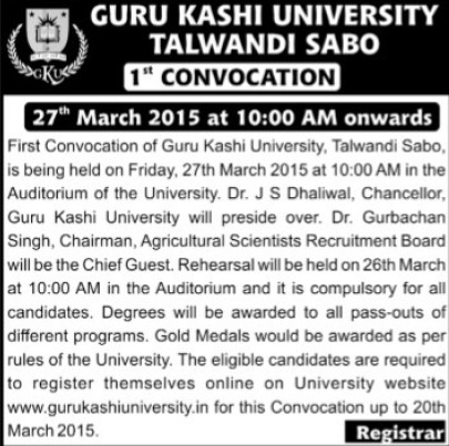1st Convocation Program 2015 (Guru Kashi University)