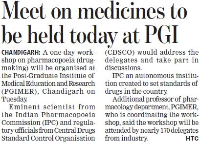 Meet on medicines to be held today (Post-Graduate Institute of Medical Education and Research (PGIMER))