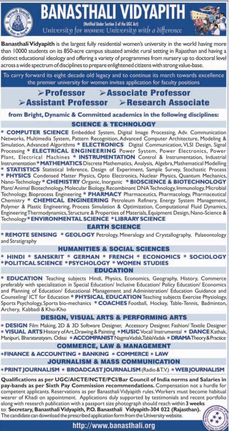 Research Associate (Banasthali University Banasthali Vidyapith)