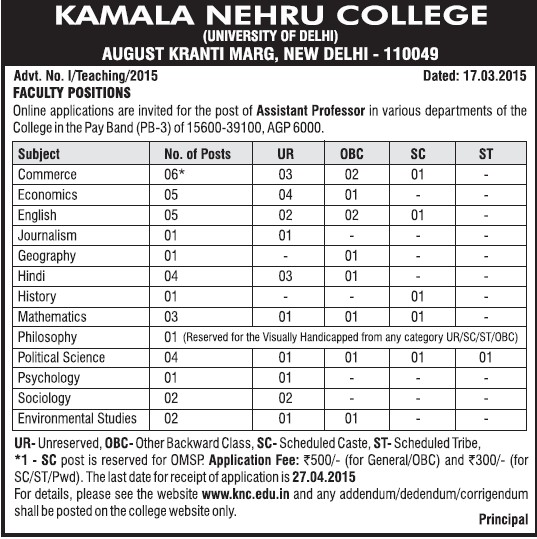 Asstt Professor for geography (Kamla Nehru College)
