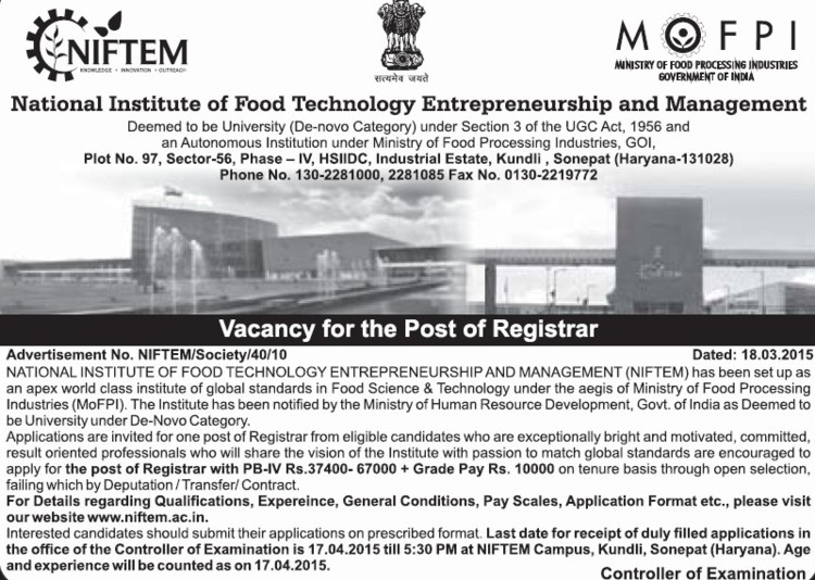 Registrar required (National Institute of Food Technology Entrepreneurship and Management (NIFTEM))