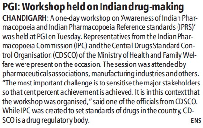 PGI Workshop held on Indian drug making (Post-Graduate Institute of Medical Education and Research (PGIMER))