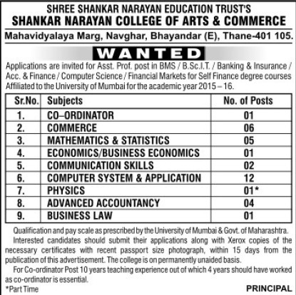 Asstt Professor for Business Law (Shree Shankar Narayan Education Trusts Shankar Narayan College of Arts and Commerce)