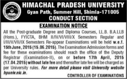 Examination Notice for LLB and BHM courses (Himachal Pradesh University)