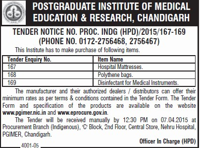 Disinfectant of Medical equipments (Post-Graduate Institute of Medical Education and Research (PGIMER))
