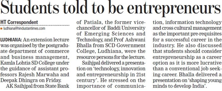 Students told to be entrepreneurs (Kamla Lohtia Sanatan Dharam College)