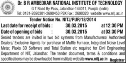 Supply of Muffle Furnace (Dr BR Ambedkar National Institute of Technology (NIT))