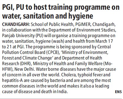 PU to host training programme on water (Post-Graduate Institute of Medical Education and Research (PGIMER))