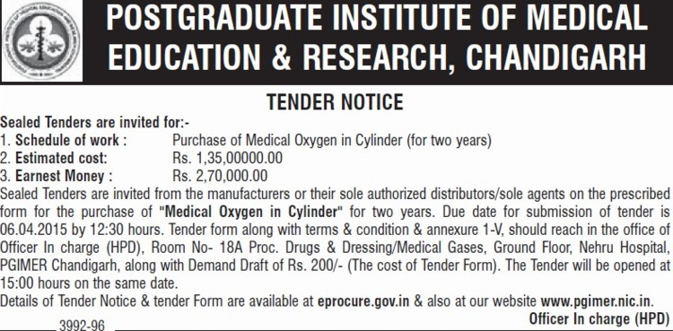 Purchase of Medical Oxygen in cylinder (Post-Graduate Institute of Medical Education and Research (PGIMER))