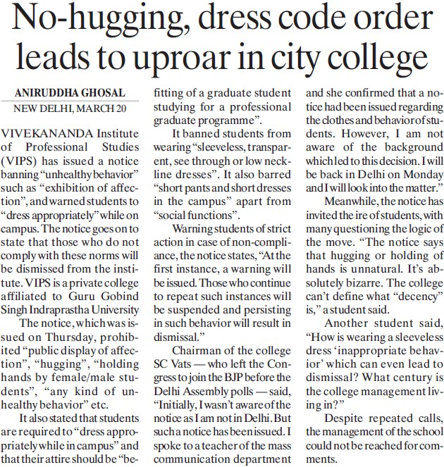 No hugging, dress code order leads to uproar in city college (Vivekananda Institute of Professional Studies (VIPS))
