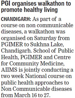 PGI organises walkathon to promote healthy living (Post-Graduate Institute of Medical Education and Research (PGIMER))