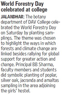 World Forestry day celebrated (DAV College)