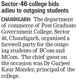 College bids adieu to outgoing students (Post Graduate Government College, Co-Educational (Sector 46))