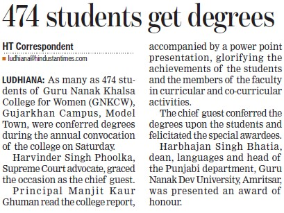 474 students get degrees (Guru Nanak Khalsa College for Women)