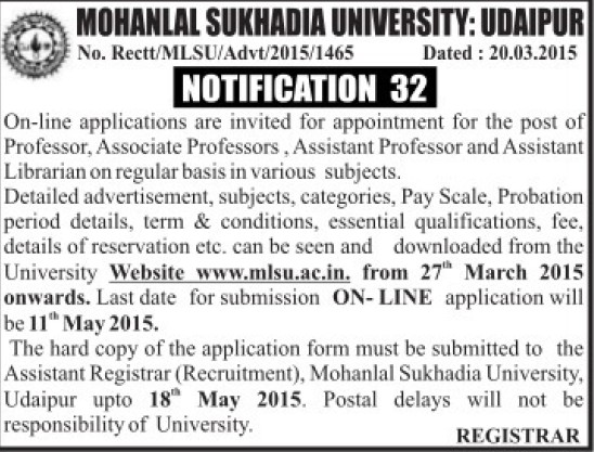 Asstt Librarian on regular basis (Mohanlal Sukhadia University)