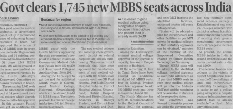 Govt clears 1745 new MBBS seats across India (Medical Council of India (MCI))