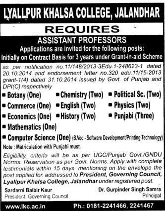 Asstt Professor for Botany and Physics (Lyallpur Khalsa College of Boys)