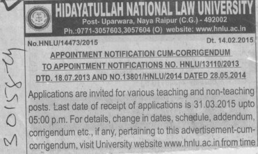 Teaching and non teaching post (Hidayatullah National Law University (HNLU))