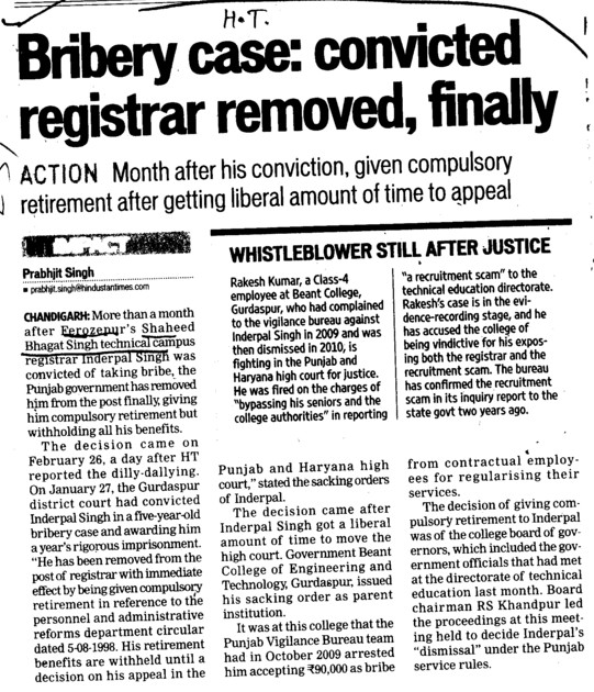 Bribery case, convicted registrar removed, finally (Shaheed Bhagat Singh State (SBBS) Technical Campus)