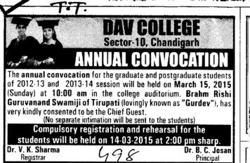 Convocation 2015 held (DAV College Sector 10)