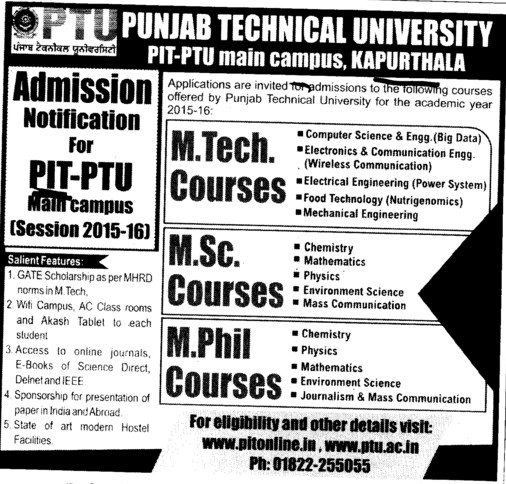 M Tech and MSc courses (Punjab Institute of Technology (PIT-K) (PTU Campus))