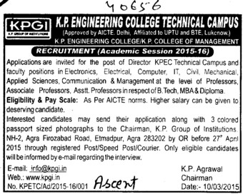 Asstt Professor for B Tech and MBA (KP Engineering College)