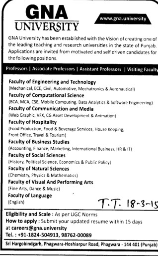 Asstt Professor for Civil Engineering (GNA University)