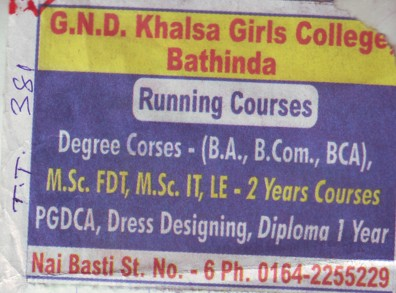 BA BCom and BCA (Guru Nanak Dev Khalsa Girls College)