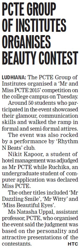 PCTE group of institutes organises beauty contest (PCTE Group of Insitutes Baddowal)