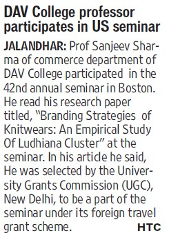 DAV College professor participates in US seminar (DAV University)