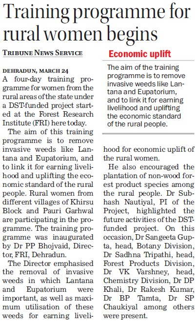 Training Program for rural women begins (Forest Research Institute)