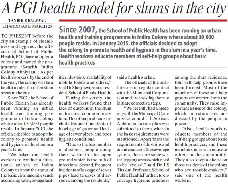 PGI health model for slums in the city (Post-Graduate Institute of Medical Education and Research (PGIMER))
